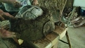 Model earth oven construction